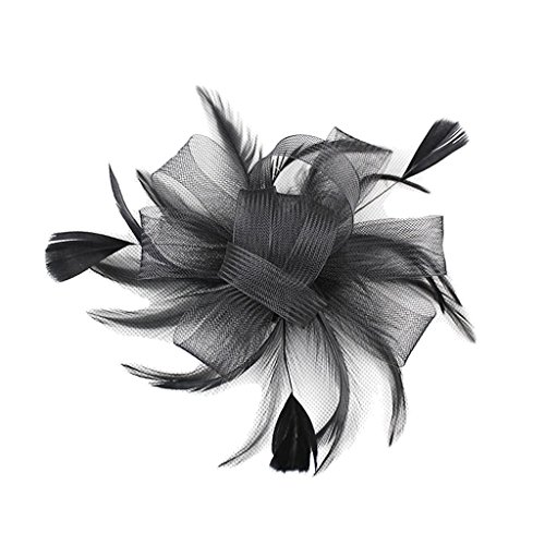Feder Fascinator Haarspange Haarklammer Haarclip Haarklemme Haarspangen - Schwarz (Schwarze Haare Haarklemmen)