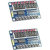 HiLetgo 2pcs TM1638 8 Bits Digital LED Tube Display Module with 8 LEDs 8 Button keys for AVR Arduino ARM