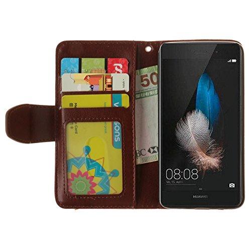 YHUISEN Huawei P8 Lite Case, geprägtes Ahornblatt Design PU Leder Flip Wallet Stand Case mit Card Slot für Huawei P8 Lite ( Color : Gray ) Brown