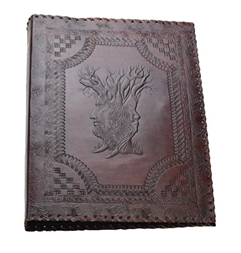 Stammbaum des Lebens * Akten Ordner 4 Ringe DIN A4 echtes Leder Büffel Handmade Indien