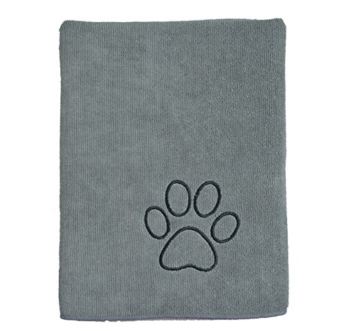 Sinland ultra saugfähiges Mikrofaser Hunde Handtuch 75 x 127 cm Grau - 3