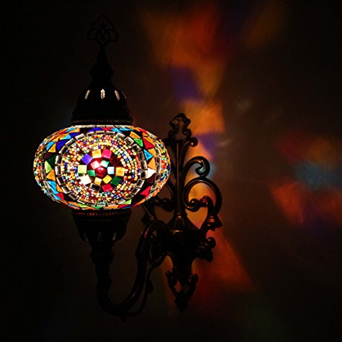 Wall Wash Light Turkish Mosaic Sconce Lamp Shade- Moroccan Ottoman Style Wall Lamp for Your Home, Office, Restaurant, Cafe Decoration Light/Side Large