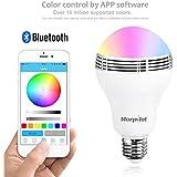 Morpilot Ampoule LED E27 RGB Bluetooth 4.0 haut-parleurintelligent / LED Lampe du soir avec Bluetooth intégré / Audio mini enceinte + Changement de couleur - Compatible avec Apple iPhone / iPad / iPod / Appareils Android