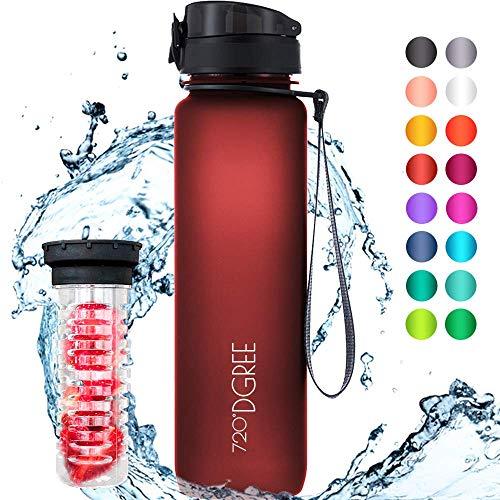 """720°DGREE Trinkflasche \""""uberBottle\"""" - 1 Liter, 1000ml, Rot - Neuartige Tritan Wasser-Flasche - Water Bottle BPA Frei - Ideale Sportflasche für Kinder, Fitness, Fahrrad, Sport, Fussball"""