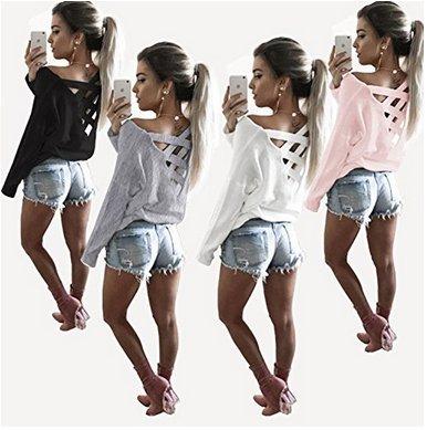 cooshional Damen Langarm T-Shirt Lace-up Lässig O-Ausschnitt Schnürung Tops Oberteil Rosa
