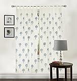 #10: Linenwalas 2 Piece Tree Print Pair Hand Block Print Cotton Window Curtain (set of 2 pcs) - White - Blue - 5ft