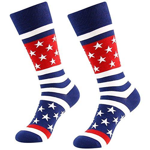 LANDUNCIAGA Herren-Socken mit amerikanischer Flagge, Patriotische Crew Geschenk Kleid Socken, 1/2/3/4/6 Paar - Blau - Einheitsgröße