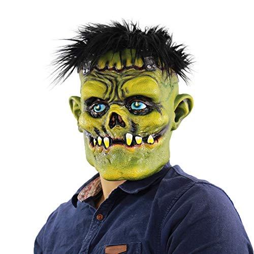 YEARYOWN Halloween Horror grünes Gesicht Monster Zombie Cos Bar Dance Party Requisiten Monster Naturlatex Maske