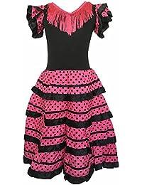 3f2578499744a La Senorita Robe Espagnol Flamenco   Costume - pour filles   enfants - Noir    Rose