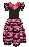 La Senorita Robe Espagnol Flamenco / Costume - pour filles / enfants - Noir / Rose (Taille 12, 140-146 - Longeur 95 cm - 9-10 ans, noir rose)