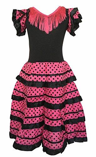 La Senorita Spanische Flamenco Kleid / Kostüm - für Mädchen / Kinder - Schwarz / Rosa (Größe 92-98 - Länge 65 cm, - Spanische Mädchen Kostüm