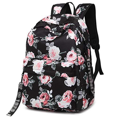 XHHWZB Lässige Wasserdichte Laptop Rucksack Travel Daypack Schultasche Bookbags für Teen Girls und Frauen - Black Peony