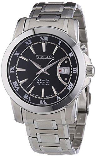 Seiko Herren-Armbanduhr XL Premier Perpetual Calendar Analog Quarz Edelstahl SNQ141P1