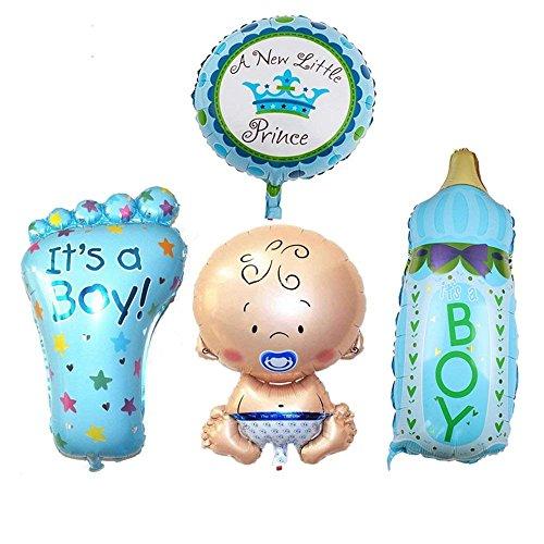 Power Ferhd 4 STÜCKE Jungen Folie Helium Baby Folienballon Für Neugeborene Baby Dusche Taufe Geburtstagsparty (Blue)