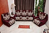 Decorista Velvet and Cotton 3+2 5 Seater Sofa Cover (Red, mehroondhanush)