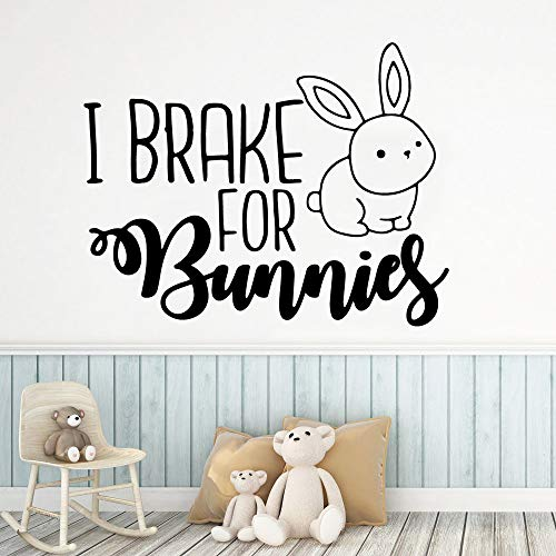 Supmsds Exquisito I Brake For Bunnies Etiqueta Pared