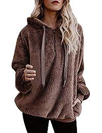 Lazzboy Womens Sweatshirt Hoodie Long Sleeve Warm-up Faux Fur Zipper Pocket Fleece Hooded