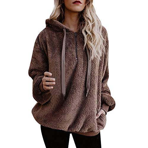 Lazzboy Womens Sweatshirt Hoodie Long Sleeve Warm-up Faux Fur Zipper Pocket Fleece...
