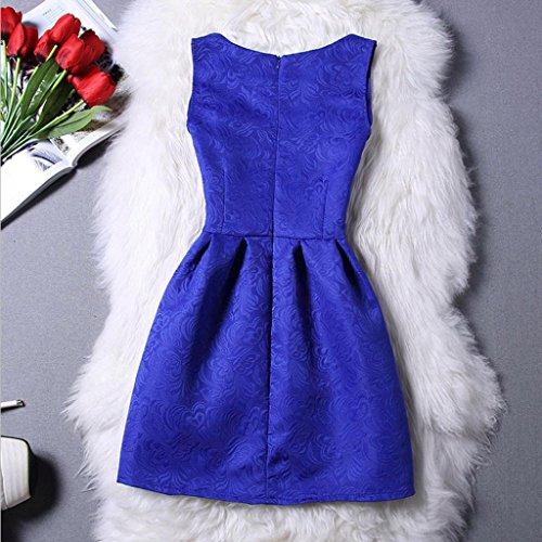 élégantes robe, Amlaiworld Femmes élégantes Casual sans manches a-ligne robes de soirée Bleu