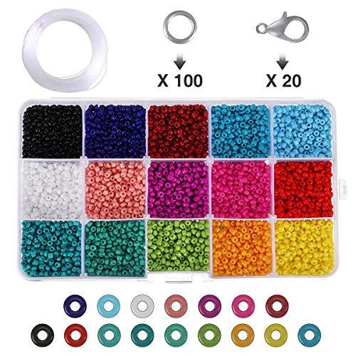 Charminer Conjunto de Cuentas de Colores, Abalorios para Hacer Pulseras, 3mm Perlas...