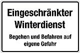 Winterschild - Eingeschränkter Winterdienst - Aluminium Selbstklebend - 30 x 45 cm