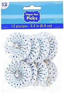 Amscan 401005azul bufé de papel ventilador Púas