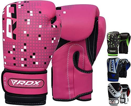 RDX Kinder Boxhandschuhe für Muay Thai und Training | Maya Hide Leder Junior 4oz, 6oz Punchinghandschuhe für Sparring, Kickboxen, Kampfsport, Boxsack, Fitness, Sandsack Boxing Gloves (MEHRWEG)