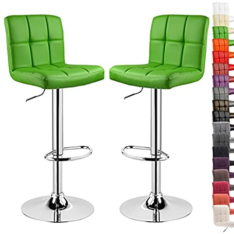 WOLTU 9168-a Set of 2 Swivel Bar Stools with Backs and Footrest Faux Leather Breakfast Kitchen Chair Stools Height Adjustable from 60 to 82cm,Green