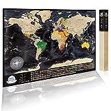 Mapa de viaje con 196 banderas de campo, 732 ciudades, 76 profundidades, 13 picos más altos, colores vibrantes, gran regalo de mapa del mundo rascador para cualquier viajero, 2 mapas, oro negro