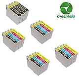 GreenInks Lot de 20 cartouches d'encre compatibles Epson T0711 T0712/T0713/T0714 /T0715/8xT0711 4xT0712 4xT0713 4xT0714 et pour Epson Printer Stylus D78/D92/D120/DX4000/DX4050/DX4400 DX4450/DX5000/DX5050/DX6000/DX6050/DX7000F DX7400/DX7450/DX8400/DX8450/DX9400F/S20/S21 SX100/SX110/SX105/SX115/SX200/SX205/SX209/SX210 SX215/SX218/SX400/SX405/SX405WiFi/SX410/SX415/SX510W/ SX515W/SX600FW/BX600FW/BX610FW Office B40W/BX300F/BX310FN Cyan/magenta/jaune/noir + 4 noir