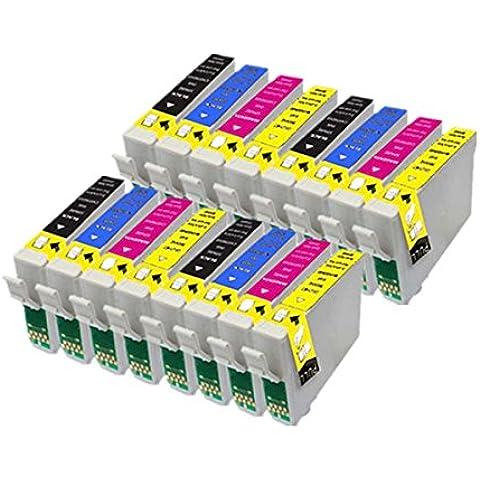 16 PerfectPrint Compatible Tinta Cartucho Reemplazar T1281 T1282 T1283 T1284 Para Epson Stylus S22 SX125 SX130 SX420W SX425W SX445W BX305F BX305FW SX230 SX235W SX445W SX435W SX430W SX438W SX440W Impresoras
