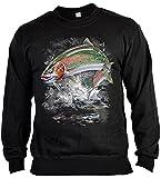 Angler Motiv Sweater - Sweatshirt Angler : Jumping rainbow trout -- Angler Motiv Pullover Anglerausrüstung Gr: M