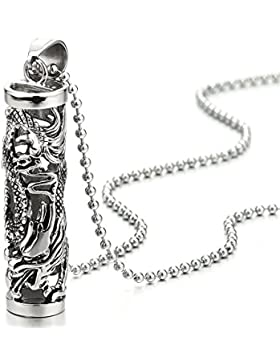 Edelstahl Fliegender Drachen Filigran Zylinder Anhänger Halskette Für Herren Jungen mit 75cm Stahl Kugelkette