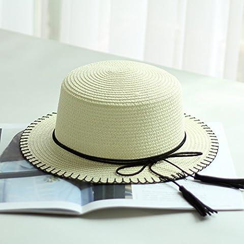 HAT chapeau de soleil d'été,les garçons, parents-enfants voyage HAT, LES FILLES la couture hat, plat bord chapeau, casquette ,,bassin Kid ( 52cm),l'ivoire