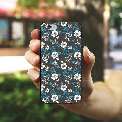 Apple iPhone 4 Housse Étui Silicone Coque Protection Fleur Rétro Motif Housse en silicone noir / blanc
