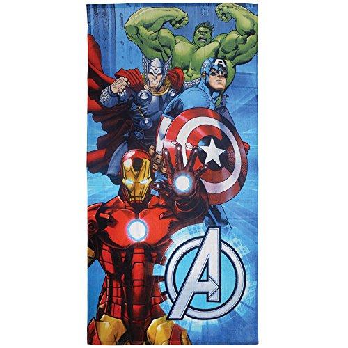 CTI - Marvel - Drap de Plage Avengers Metal 100% Coton, Bleu, 150x75 cm