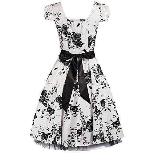 Pretty Kitty Fashion 50s Weiß Schwarz Blumen Cocktail Tee Kleid (XXXL - 46, Weiß) -