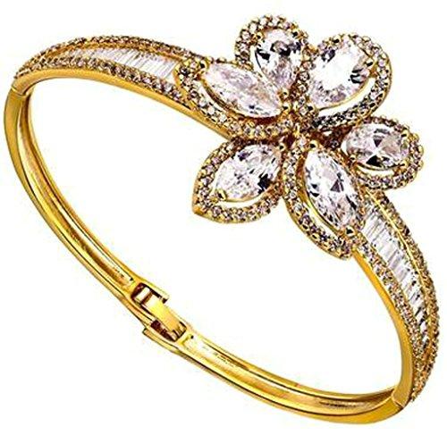 AnaZoz Bijoux Série Haute de Gamme Femme Bracelet Mariage Noble Élégant Incrusté Zircon Cubique Fleur Design Buckle Design Noël valentin Or