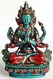 Chenrezig tibetischer Buddha und Schutzheiliger Tibets 15 cm hoch aus Giesharz türkis bemalt Figur Handarbeit aus Nepal