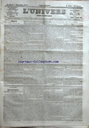 UNIVERS (L') [No 244] du 07/09/1855 - FRANCE - PARIS 6 SEPTEMBRE 1855 PAR DU LAC - FEUILLETON - BEAUX ARTS - EXPOSITION UNIVERSELLE DE 1855 4E ARTICLE - AQUARELLE SCULPTURE ET GRAVURE ANGLAISES - SCULPTURE - GRAVURE par Collectif