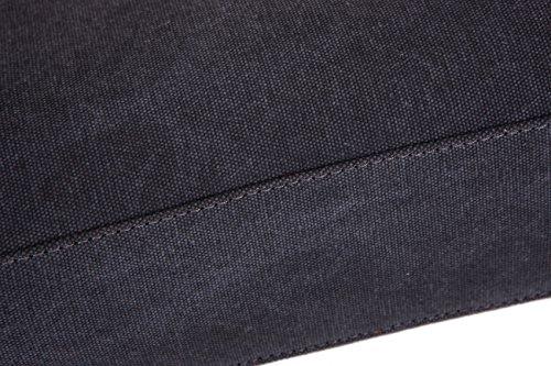 DoubleMay Herren Vintage Canvas Leder Aktentasche Messenger Bag Umhängetasche ideal für Studium Büro oder Freizeit Outdoor 38 x 11 x 28 cm (Schwarz) Schwarz