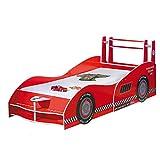 ZEARO Kinderbett Rennwagen Formel Eins Spielbett Rot Mit Aufdruck,90x200
