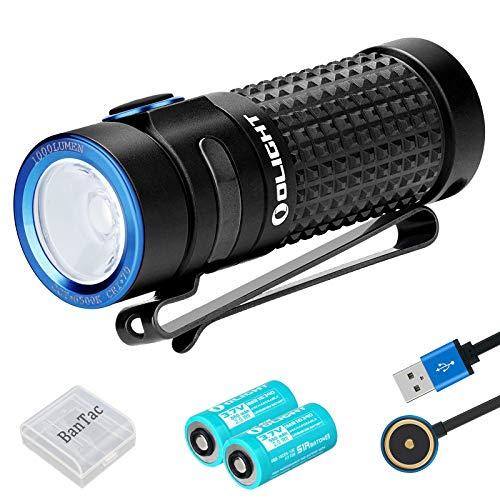 Olight S1R Baton II Mini Taschenlampe 1000 Lumen CW LED-Kompakt-EDC-Brenner Magnetische USB-wiederaufladbare kleine Taschenlampe, mit 2 * 16340 Akku + BanTac Batteriefach