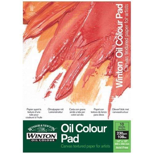 Winsor&Newton -Carta con grana simile a tela per colori ad olio, 10 fogli, 355 x 255 mm
