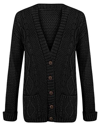 Trendy-Clothings Cardigan à manches longues, fermeture par bouton, grosse maille pour femme Moutarde