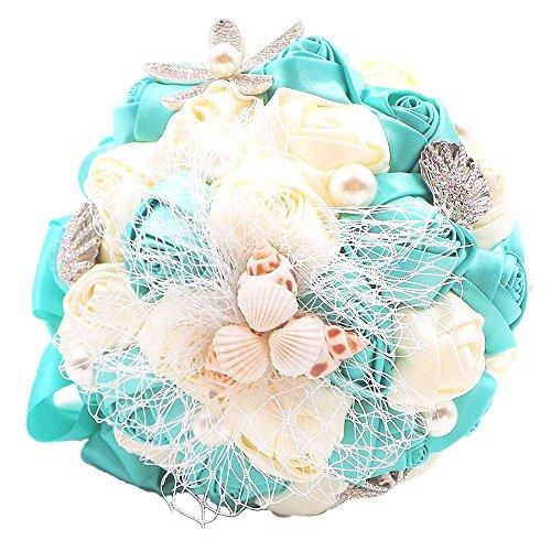 Abbie Home Beach Hochzeit Bridal Bouquet, fangspaß Blume hält, mit Pearl Seashell und Strass Dekoration für Strand Hochzeit tiffany blue - Hochzeit Bouquet Strand
