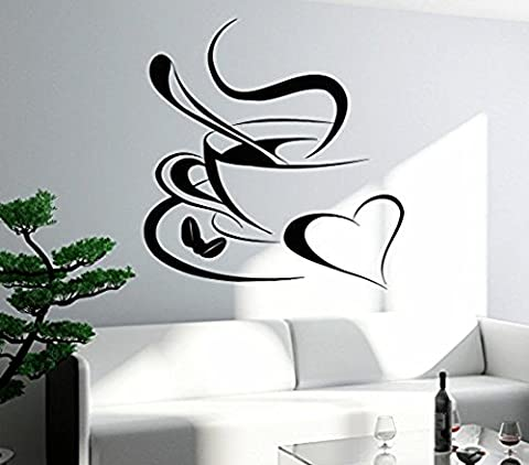 GGWW Wall Stickers Vinyl Decal Coffee Cup Love Heart Kitchen Decor (Z1073I)