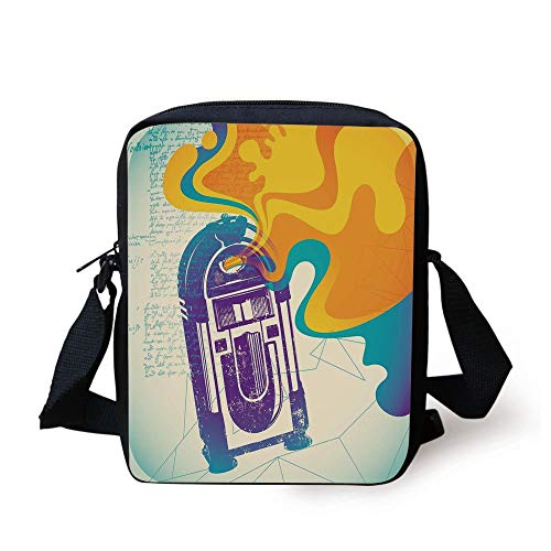 Jukebox,Retro Vintage Radio Music Box with Marigold Yellow Abstract Fog Like Image,Purple and Blue Print Kids Crossbody Messenger Bag Purse