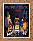 L Lumartos Vintage Poster New York Modern Home Decor Wall Art Print, Holz, A3