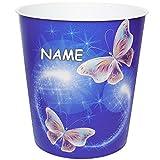 Unbekannt Papierkorb / Behälter -  Bunte Schmetterlinge  - inkl. Name - 10 Liter - aus Kunststoff - Mülleimer / Eimer - Aufbewahrungsbox für Kinder / Büro - Mädchen &..